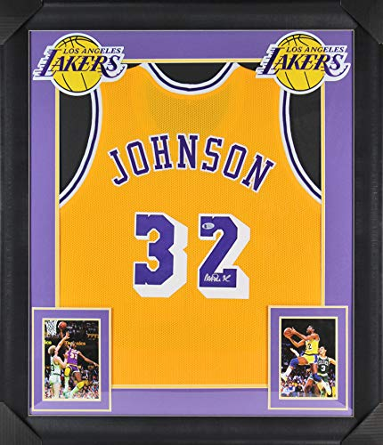 b0271095054 Lakers Magic Johnson Authentic Signed   Framed Yellow Jersey BAS Witnessed