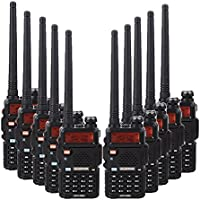 BaoFeng 10PCS BF-UV5R 1.5 LCD 5W 136~174MHz / 400~470MHz Dual Band Walkie Talkie with 1-LED Flashlight Includes Rechargeable Battery (Black)
