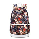HeyYoo Casual Canvas School Backpack Set Cute Bookbag Backpack Sets for Girls (Red1)