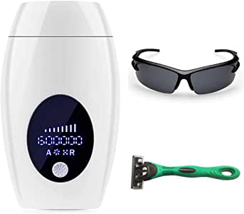 IPL Permanent Hair Removal Device 600,000 Flashes and 8 Energy Levels Facial Whole Body At-Home Painless Hair Removal System for Women and Men