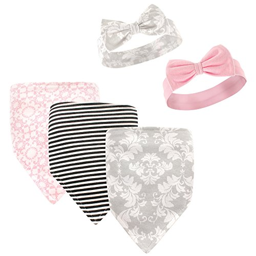 Hudson Baby Baby Bandana Bib and Headbands Set, 5 Piece, Pink Flowers, 0-9 Months