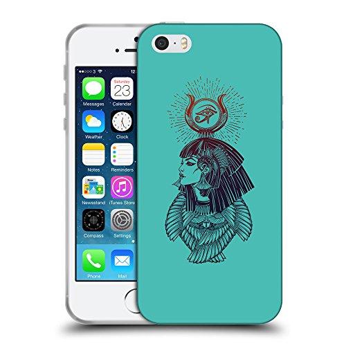 GoGoMobile Coque de Protection TPU Silicone Case pour // Q08070634 Déesse égyptienne 1 Turquoise // Apple iPhone 5 5S 5G SE