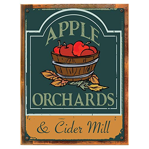 Apple Rustic (Wood-Framed Apple Orchards and Cider Mill Metal Sign, Thanksgiving, Harvest for kitchen on reclaimed, rustic wood)