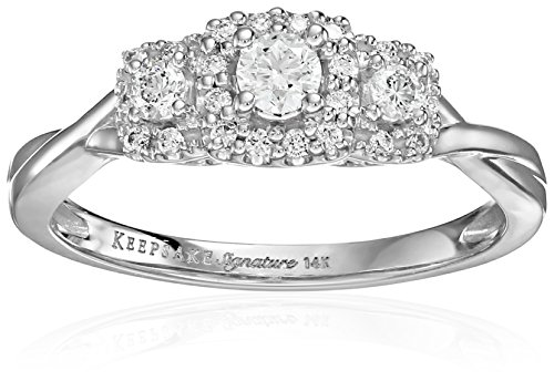 Keepsake Signature 14k White Gold Diamond Three-Stone Engagement Ring (3/8cttw, H-I Color, I1 Clarity), Size 8