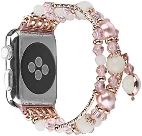 Juzzhou Watch Band For Apple Watch iWatch 38/40/42/44mm Series 1/2/3/4 Faux Pearl/Agate Noctilucent Replacement With Adapter