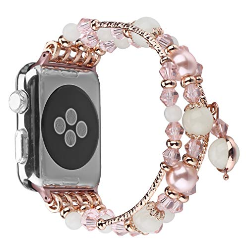 Juzzhou Watch Bands For Apple iWatch Series 1 2 3 4 Sport Noctilucent Replacement Handmade Beaded Faux Pearl Natural Bling Stone Wrist Guard Strap Wristband Wriststrap Bracelet Rose Gold 38mm 40mm
