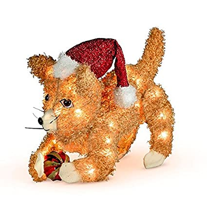3d fluffy cat lighted outdoor christmas decoration playing with ornament - Lighted Animals Christmas Decoration