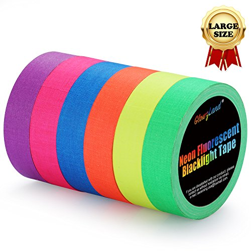 Neon Tape [Bigger Size] UV Blacklight Reactive Fluorescent, Glow in The Dark Gaffer Tapes 6 Colors, 1 inch 50ft. per roll, for Black Light Party Supplies by GlowsLand