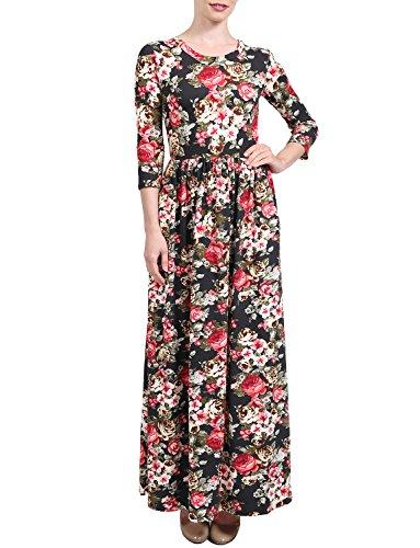 4 Women's 3 Maxi Dress w Printed V J Sleeve 2222030 Casual Neck LOVNY Pockets ztqnnA5xI