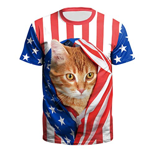 New Men USA Flag T-Shirt Sexy 3D Print Short Sleeve Striped Cute Cat Tops Tees