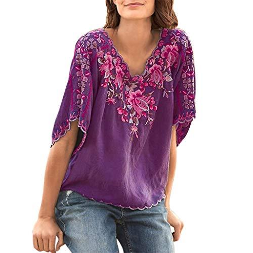 Sttech1 Women Vintage T-Shirt Summer Embroidery Print T-Shirt V-Neck Short Sleeve Top Blouse M-3XL Purple