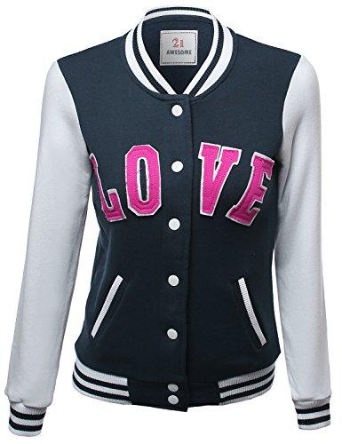 Xpril Casual Baseball Snap Button Down Fleece Jacket Navy Si
