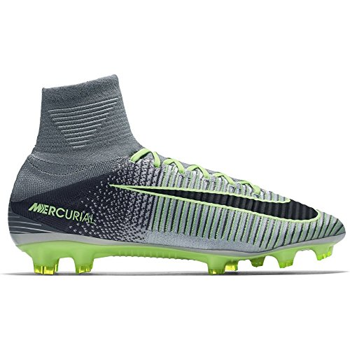 Nike Mens Mercurial Superfly V (FG) Soccer Cleats Platinum/Black/Ghost Green 831940-003 Size 10.5