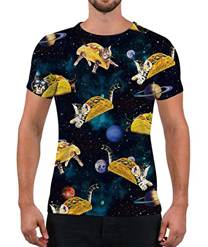 Alistyle Unisex T Shirts 3D Meat Roll Cat Printed Tees Summer Casual Short Sleeve Top M -