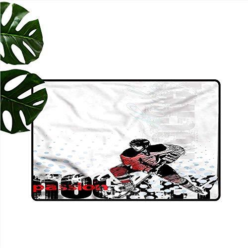 DUCKIL Outdoor Doormat Hockey Goalie Playing Artwork Machine wash/Non-Slip W31 xL47 ()