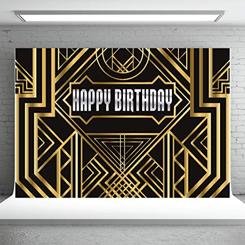 Great Gatsby Backdrop for Photography Birthday Party Decorations 7x5ft Vinyl Golden Abstract Geometric Background Photo Studio Booth -