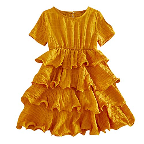 Shusuen_baby Girl Layered Dress Kids Ruffles Lace Party Wedding Tutu Dresses Yellow ()