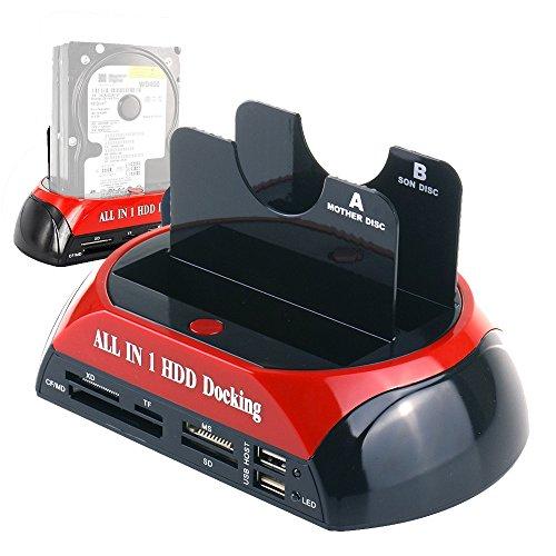 (WANLONGXIN WLX-876U3SC USB 3.0 to SATA Dual Bay External Hard Drive Docking Station with Offline Clone Function and Card Reader USB Hub, for 2.5 3.5 Inch HDD SSD SATA I/II/III up to 2 x 8TB)