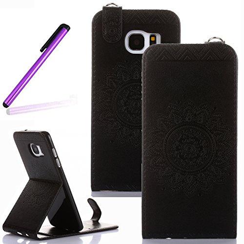 Case Black Flip Vertical (S7 Edge Case,Samsung Galaxy S7 Edge Stand Case,LEECO Vertical Flip Card Pockets Slots Wallet PU Leather Folio Kickstand Protective Case Cover for Samsung Galaxy S7 Edge Totems Black)
