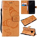 Samsung Galaxy S9 Case, Lomogo Leather Wallet Case with Kickstand Card Holder Shockproof Flip Case Cover for Samsung Galaxy S9 - LOKTU21668 Yellow