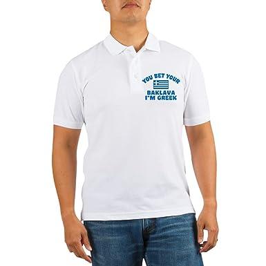 11822acf CafePress Funny Greek Baklava Golf Shirt Golf Shirt, Pique Knit Golf Polo  White