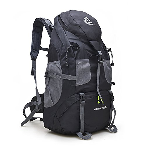 Free Knight 50L Hiking Daypacks Hiking Travel Backpack Camping Rucksack (Black)