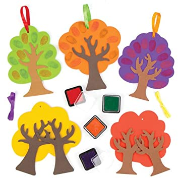 Baker Ross Fingerprint Tree Decoration Kits For Children To Design
