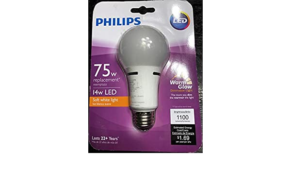 Philips 459065 75W Equivalent Soft White Household A21 Dimmable LED with Warm Glow Light Effect Light Bulb - - Amazon.com
