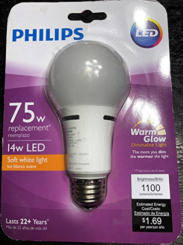 Philips 459065 75W Equivalent Soft White Household A21 Dimmable LED with Warm Glow Light Effect Light Bulb