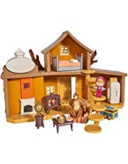 Simba Toys 109301032 - Masha och Björnen Lekset Björnens Hus - Tvåvåningshus, tillbehör & 2 Figurer, Ljud, 35 x 22 cm, Från 3 år