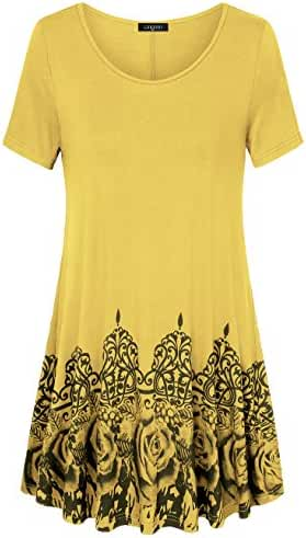 Womens Printed Flow Tunic Shirts,Laksmi Short Sleeve Scoop Neck A Line Loose Fit Casual Top