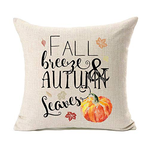 Kithomer Halloween Pumpkin Maple Leaves Throw Pillow Cover Fall Decor Cotton Linen Cushion Case Couch 18 x 18 inch (Fall Breeze & Autumn Leaves)
