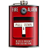 Fire Alarm Emergency Funny Novelty Flask - 8oz Stainless Steel Flask - come in a GIFT BOX - by Trixie & Milo