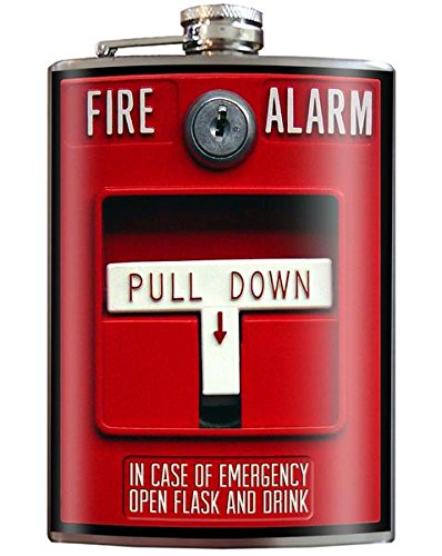 Fire Alarm Emergency Funny Novelty Flask - 8oz