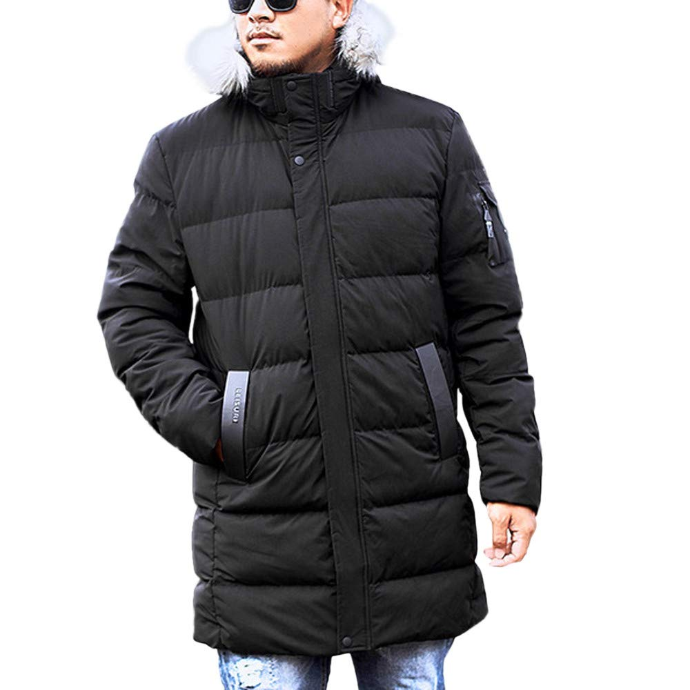 YKARITIANNA Men's Long Fit Quilted Medium Length Zipper Plus Size Hooded Pure Color Thickened Cotton Coat Overcoat Black
