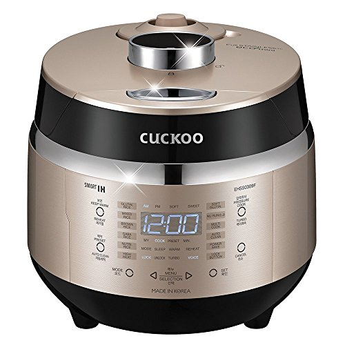 Cuckoo Electric Induction Heating Rice Pressure Cooker (3-Cup) – Full Stainless Interior with Non-Stick Coating – 3-Language Voice Navigation and LED Screen with Touch Selection Menu – Premium Quality