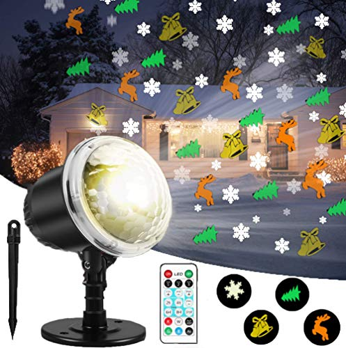 Christmas Projector Lights, Multicolor Christmas Patterns Decorative Lighting IP65 Waterproof LED Xmas Theme Indoor/Outdoor Light with Remote & Timer (Xmas Lights Reindeer)