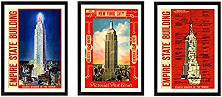 Empire State Building Construction Decor Print Art Poster Size A4 to B1 Framed