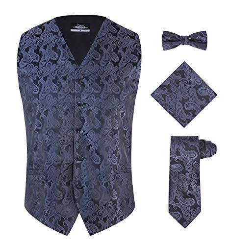 S.H. Churchill & Co. Men's 4 Piece Paisley Vest Set, with Bow Tie, Neck Tie & Pocket Hanky - (L, Silver/Black)