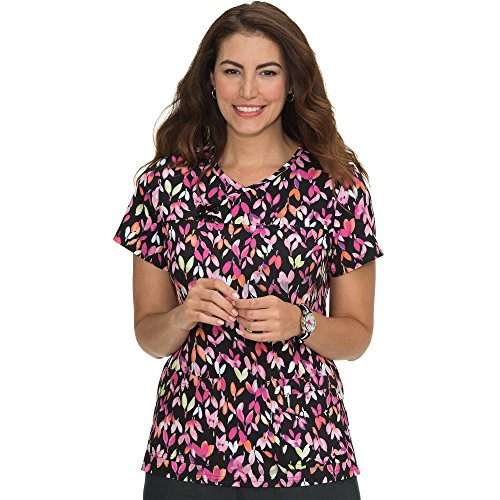 KOI Prints Women's Serena Y-Neck Floral Print Scrub Top,Colorful Buds,Medium