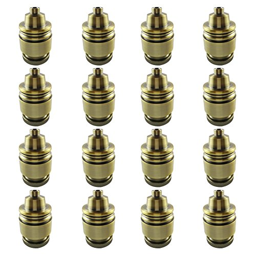 AAF Antique Keyless Light Socket Brass Finish, E26 / E27 Base, Pack of 16 by AAF