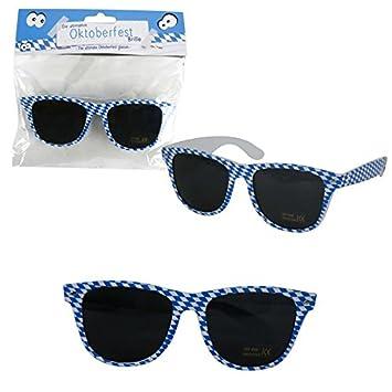 NET TOYS Oktoberfest-Brille Karierte Sonnenbrille blau-wei/ß Schlagerbrille Karomuster Schlagermove Spa/ßbrille Funbrille Volksmusik bayerisch Junggesellenabschied Accessoire