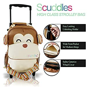Scuddles Toddler Rolling Backpack - Lightweight Waterproof Quilted Zoo Monkey Trolley School Bag with Heavy Duty Strap - Insulated Travel Luggage Roller Wheeled for Little Kid Girl & Boy