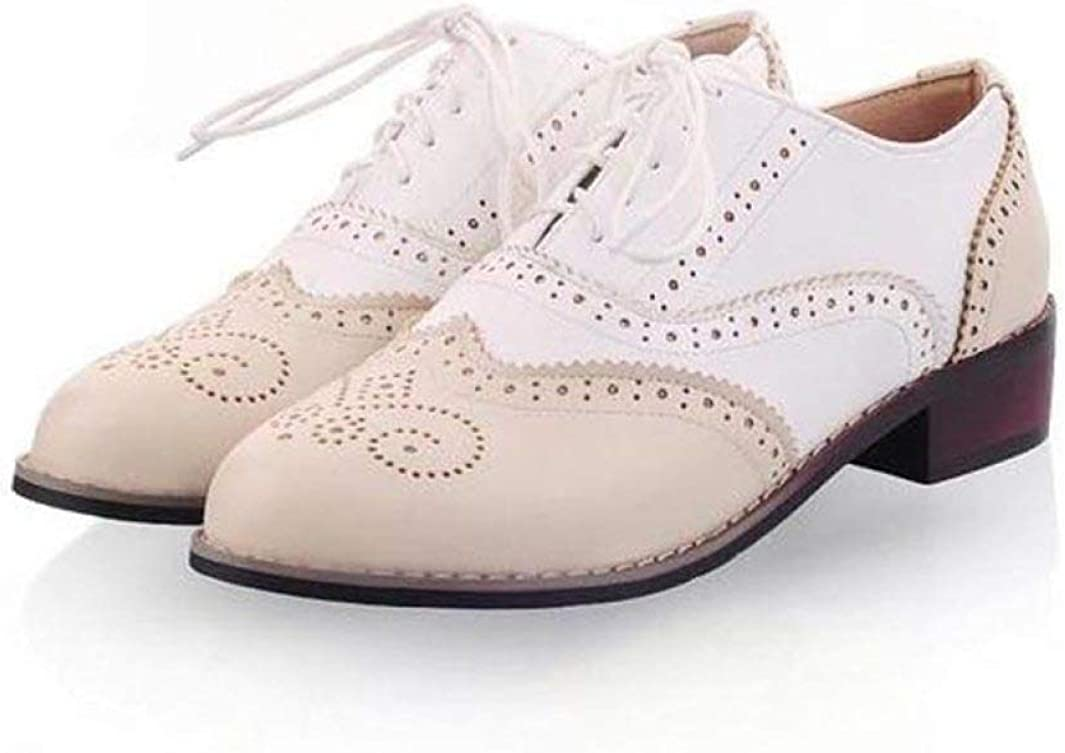 Women Oxfords Vintage Pu Lace Up Flat Oxfords for Women Ladies Casual Flat Oxford Shoes Carved Brogue Oxfords