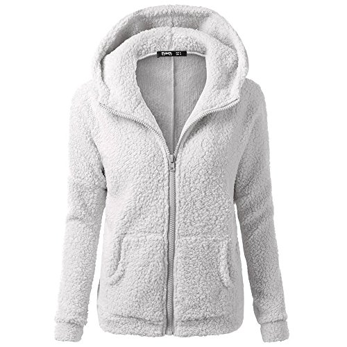 Honhui Womens Casual Hooded Sweater Winter Warm Wool Zipper Jacket Cotton Coat Outwear (XXL, Light Gray) -