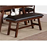 Modern Dark Walnut Solid Wood Frame Dining Bench with Faux Leather Seat