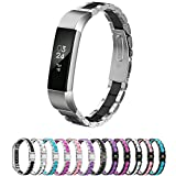 (US) Fitbit Alta HR and Alta Bands Metal, Greeninsync Fitbit Alta Stainless Steel Bands Adjustable Replacement Accessories Metal Wristband Small Large for Fitbit Alta Bracelet Men Women Girls - Black