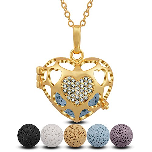 INFUSEU Heart Aromatherapy Essential Oil Diffuser Locket Pendant Necklace with 5 Lava Rock Stones for Women Jewelry (5 Beads 16mm)