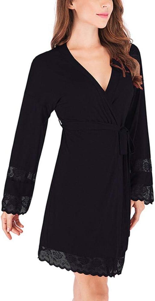 Zoueroih Pijama de Mujer Bata de algodón para Mujeres, Bata Liviana, Bata de baño y cinturón para la Ropa de Dormir del SPA del Hotel (Color : Black, Size : XL): Amazon.es: