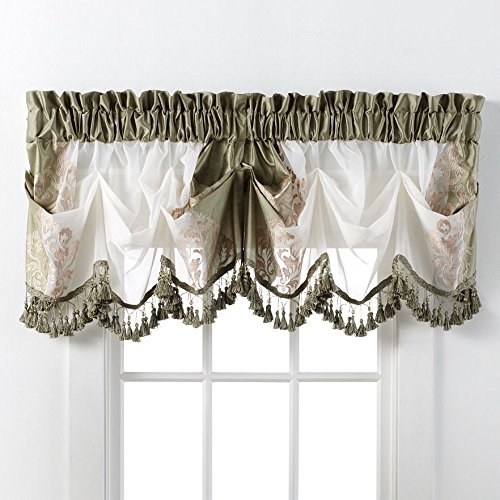 Regal Floral Valance - GoodGram Danbury Embroidered Window Treatments By Assorted Colors And Sizes (Sage, Single Valance)